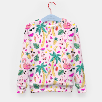 Pink Summer Vacation Sticker Print Kid's sweater imagen en miniatura
