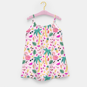 Pink Summer Vacation Sticker Print Girl's dress imagen en miniatura