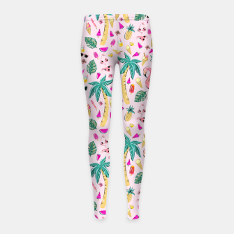 Miniatur Pink Summer Vacation Sticker Print Girl's leggings, Live Heroes