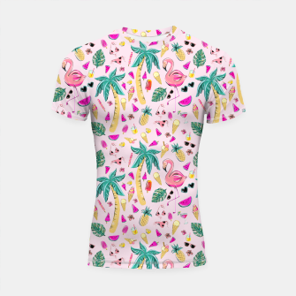 Pink Summer Vacation Sticker Print Shortsleeve rashguard imagen en miniatura