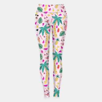 Miniaturka Pink Summer Vacation Sticker Print Leggings, Live Heroes