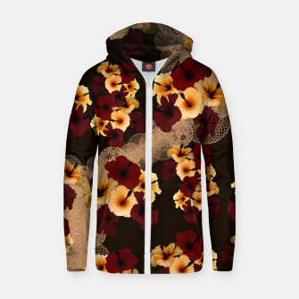 Miniaturka Hibiscus and Japanese emblem art Zip up hoodie, Live Heroes