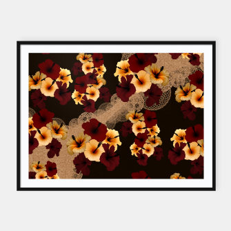 Thumbnail image of Hibiscus and Japanese emblem art Framed poster, Live Heroes