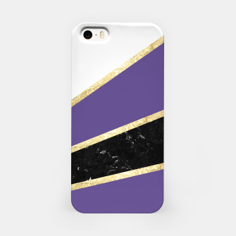 Miniatur Ultra Violet, White, Black Marble and Gold Stripes Glam #1 #minimal #decor #art  iPhone-Hülle, Live Heroes