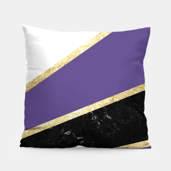 Thumbnail image of Ultra Violet, White, Black Marble and Gold Stripes Glam #1 #minimal #decor #art  Kissen, Live Heroes