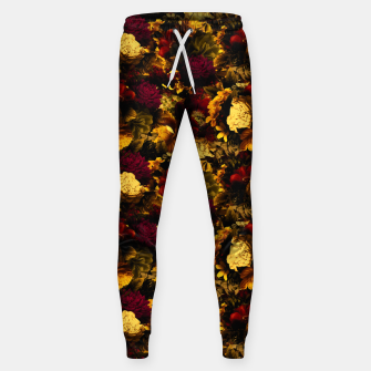 Miniatur melancholy flowers small seamless pattern 01 edgy ember Sweatpants, Live Heroes