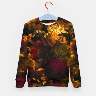 Thumbnail image of melancholy flowers big seamless pattern 01 edgy ember Kid's sweater, Live Heroes