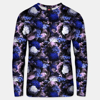 Miniatur melancholy flowers small seamless pattern 01 deep blue Unisex sweater, Live Heroes