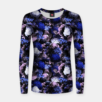 Thumbnail image of melancholy flowers small seamless pattern 01 deep blue Women sweater, Live Heroes