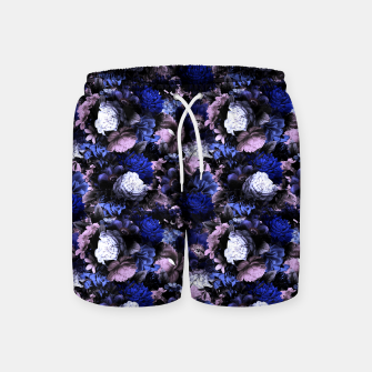 Miniatur melancholy flowers small seamless pattern 01 deep blue Swim Shorts, Live Heroes