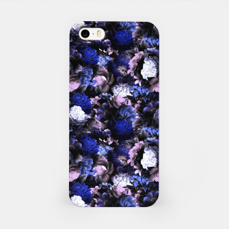 Miniatur melancholy flowers small seamless pattern 01 deep blue iPhone Case, Live Heroes