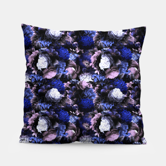 Thumbnail image of melancholy flowers small seamless pattern 01 deep blue Pillow, Live Heroes