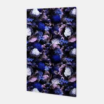 Miniatur melancholy flowers small seamless pattern 01 deep blue Canvas, Live Heroes