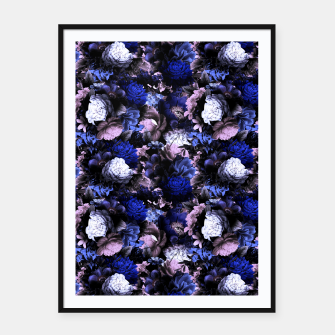 Miniatur melancholy flowers small seamless pattern 01 deep blue Framed poster, Live Heroes