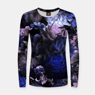 Thumbnail image of melancholy flowers big seamless pattern 01 deep blue Women sweater, Live Heroes