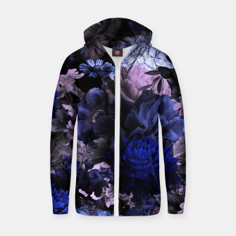 melancholy flowers big seamless pattern 01 deep blue Zip up hoodie thumbnail image