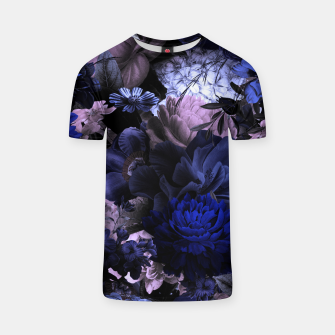 melancholy flowers big seamless pattern 01 deep blue T-shirt thumbnail image