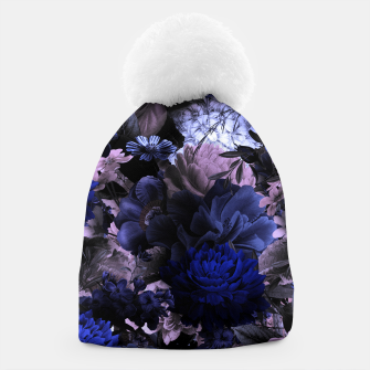 melancholy flowers big seamless pattern 01 deep blue Beanie thumbnail image