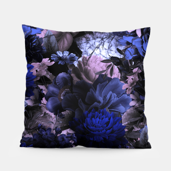 melancholy flowers big seamless pattern 01 deep blue Pillow thumbnail image