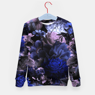 melancholy flowers big seamless pattern 01 deep blue Kid's sweater thumbnail image