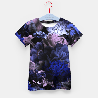melancholy flowers big seamless pattern 01 deep blue Kid's t-shirt thumbnail image