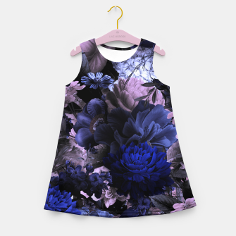 melancholy flowers big seamless pattern 01 deep blue Girl's summer dress thumbnail image