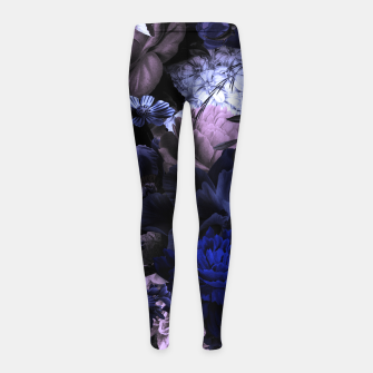 melancholy flowers big seamless pattern 01 deep blue Girl's leggings thumbnail image