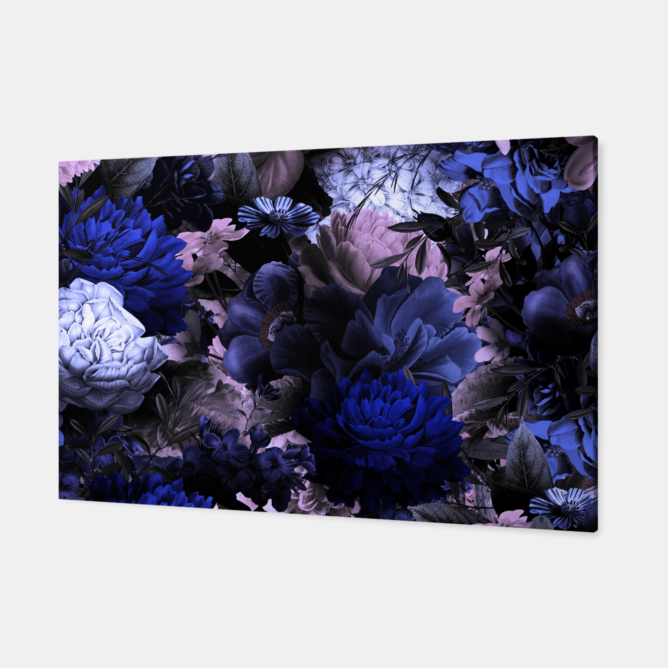 Image of melancholy flowers big seamless pattern 01 deep blue Canvas - Live Heroes