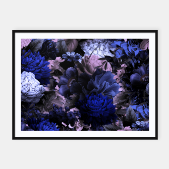 Miniatur melancholy flowers big seamless pattern 01 deep blue Framed poster, Live Heroes