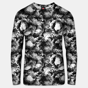 Miniatur melancholy flowers small seamless pattern 01 black white Unisex sweater, Live Heroes