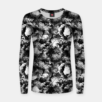 Thumbnail image of melancholy flowers small seamless pattern 01 black white Women sweater, Live Heroes