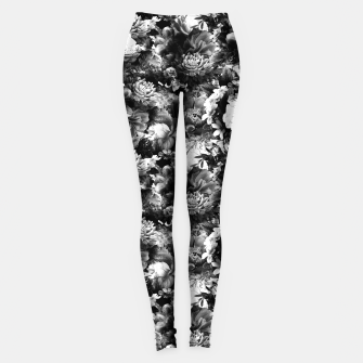 Miniaturka melancholy flowers small seamless pattern 01 black white Leggings, Live Heroes
