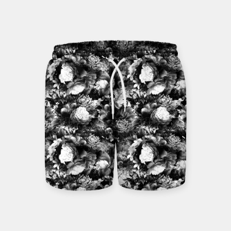 Miniatur melancholy flowers small seamless pattern 01 black white Swim Shorts, Live Heroes