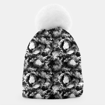 Miniaturka melancholy flowers small seamless pattern 01 black white Beanie, Live Heroes