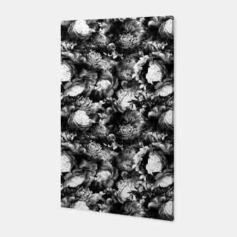 Miniaturka melancholy flowers small seamless pattern 01 black white Canvas, Live Heroes