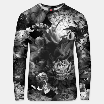 Miniatur melancholy flowers big seamless pattern 01 black white Unisex sweater, Live Heroes