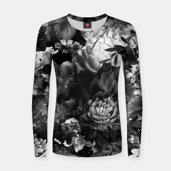 Thumbnail image of melancholy flowers big seamless pattern 01 black white Women sweater, Live Heroes