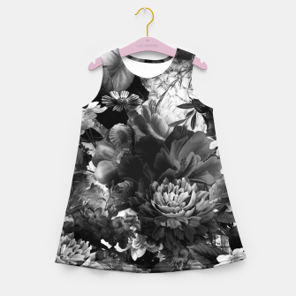 Miniatur melancholy flowers big seamless pattern 01 black white Girl's summer dress, Live Heroes