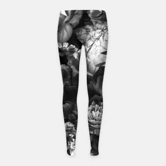Miniatur melancholy flowers big seamless pattern 01 black white Girl's leggings, Live Heroes