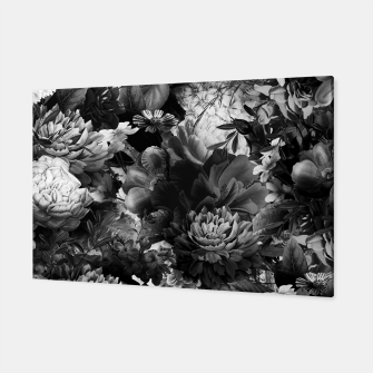 Miniatur melancholy flowers big seamless pattern 01 black white Canvas, Live Heroes