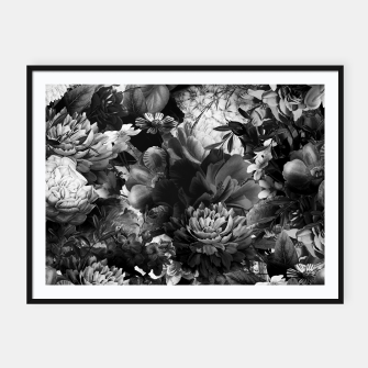 Miniatur melancholy flowers big seamless pattern 01 black white Framed poster, Live Heroes