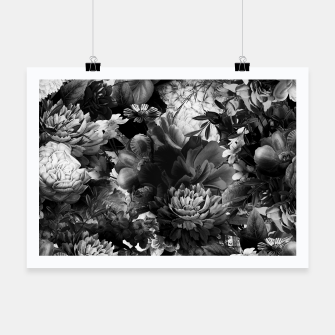 Miniatur melancholy flowers big seamless pattern 01 black white Poster, Live Heroes