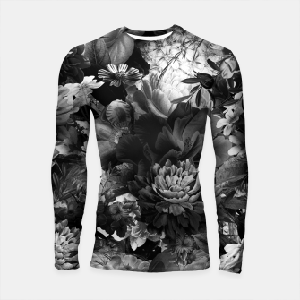 Thumbnail image of melancholy flowers big seamless pattern 01 black white Longsleeve rashguard , Live Heroes