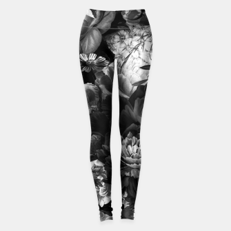 Miniatur melancholy flowers big seamless pattern 01 black white Leggings, Live Heroes