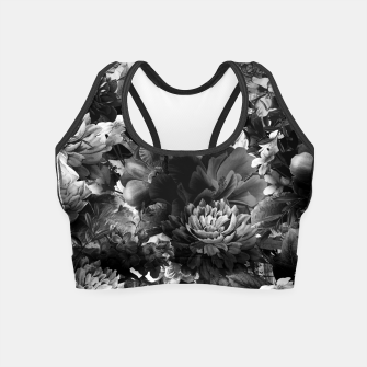 Miniatur melancholy flowers big seamless pattern 01 black white Crop Top, Live Heroes
