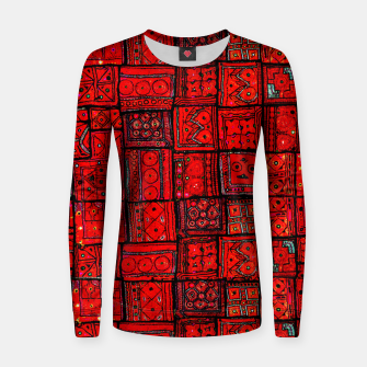 Thumbnail image of Lovely Red Traditional Moroccan Pattern Artwork. Women sweater, Live Heroes