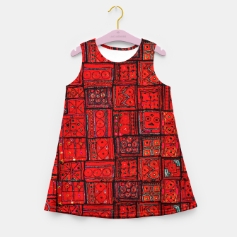 Miniaturka Lovely Red Traditional Moroccan Pattern Artwork. Girl's summer dress, Live Heroes