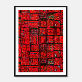 Miniatur Lovely Red Traditional Moroccan Pattern Artwork. Framed poster, Live Heroes