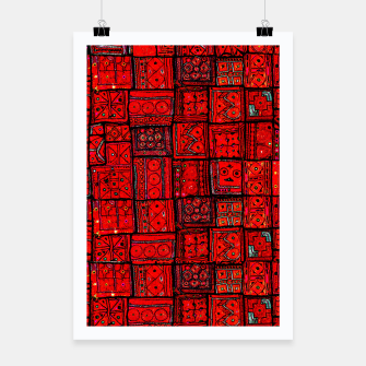 Miniaturka Lovely Red Traditional Moroccan Pattern Artwork. Poster, Live Heroes