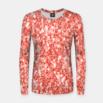 Thumbnail image of Living coral dark glitter sparkles Women sweater, Live Heroes